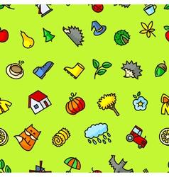 Autumn cute seamless pattern vector image