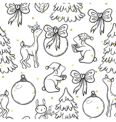 Cute Christmas seamless pattern with animals deer vector image vector image