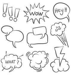 doodle of speech bubble style various vector image