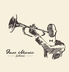 set man playing trumpet vintage hand drawn sketch vector image