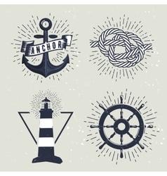 Set of retro nautical labels vector image
