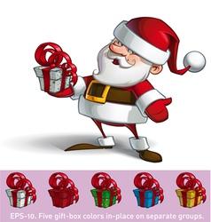 Smilling santa holding a present vector