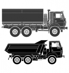 trucks silhouettes set vector image