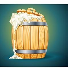 wooden barrel full of beer vector image vector image
