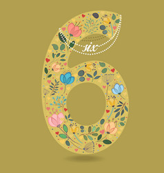 Yellow number six with floral decor and necklace vector