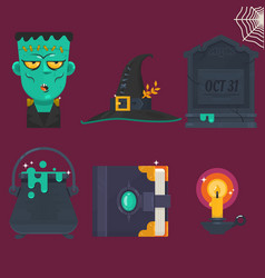 collection of halloween icon set vector image vector image