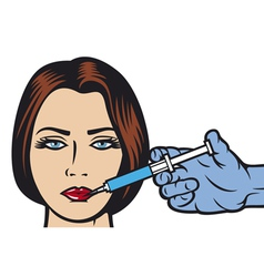 woman receiving a botox injection in lips vector image