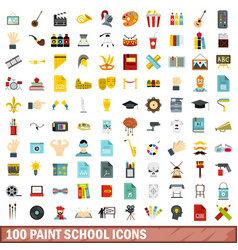 100 paint school icons set flat style vector image