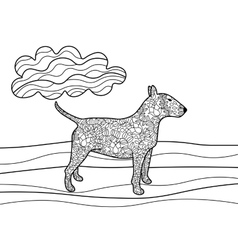 Bullterrier dog coloring book for adults vector image