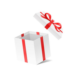 empty open gift box with red color bow knot and vector image vector image