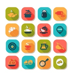 flat food icon set vector image