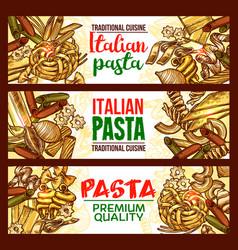 pasta sketch banner of italian spaghetti macaroni vector image vector image