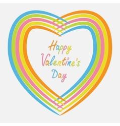 Rainbow abstract heart frame Flat design Happy vector image