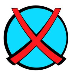 Red cross check mark icon cartoon vector