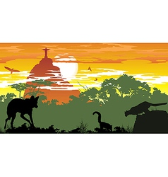 Wild animals of Brazilian woods vector image vector image