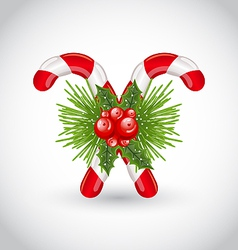 Christmas sweet canes with holly berry and pine vector image