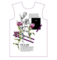 design t-shirt with tulips flowers vector image