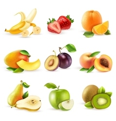 Fruits Flat Icons Set vector image