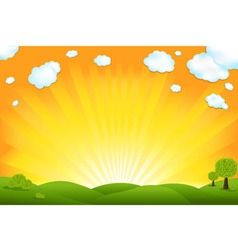 green field and sunrise vector image vector image