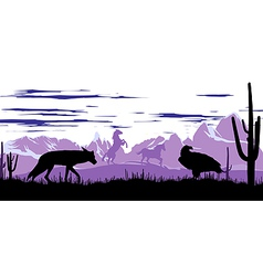 Wild horses coyote and eagle in the steppes of vector