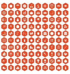 100 apple icons hexagon orange vector