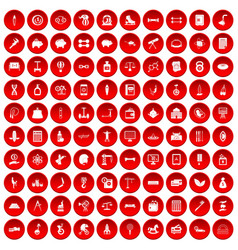 100 balance icons set red vector
