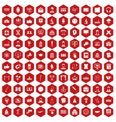 100 conference icons hexagon red vector image