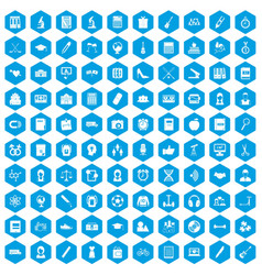 100 hi-school icons set blue vector