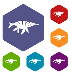 Aquatic dinosaur icons set hexagon vector