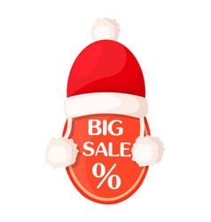 big sale oval tag with percent sign and santa hat vector image