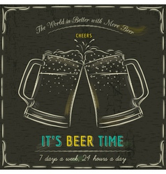 blackboard with two cold mugs of beer vector image