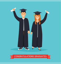 Boy and girl graduates in flat vector