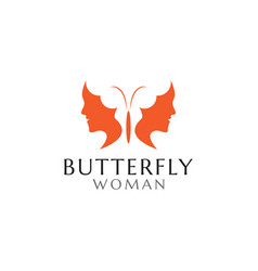 butterfly woman logo design template vector image