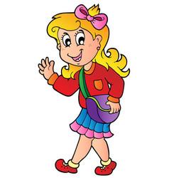 Cartoon girl walking to school vector
