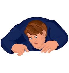 Cartoon man torso in blue looking down vector