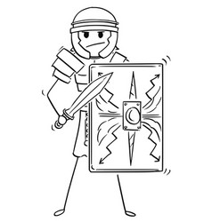 Cartoon of ancient roman legionary warrior soldier vector