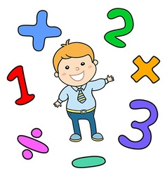 Cartoon style math learning game Mathematical vector