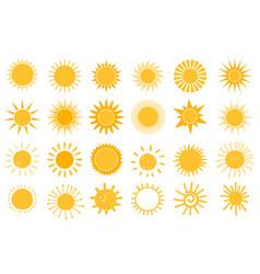 cartoon sun icon flat and hand drawn summer vector image