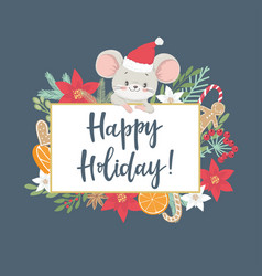 christmas and new year card with cute little mouse vector image