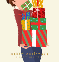 christmas and new year card woman gift box pile vector image