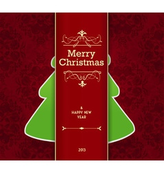 Christmas card with tree behind the stripe vector image