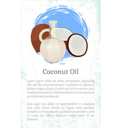 coconut oil eco organic ingredient for cosmetics vector image