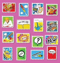 Collection of Comic Book Style post stamps vector image