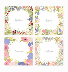 collection square card templates with various vector image