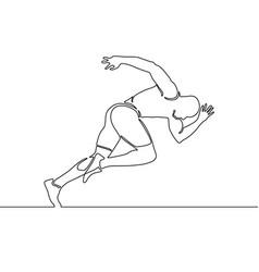 Continuous line running man start running vector