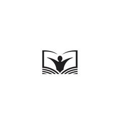 Creative book person logo vector