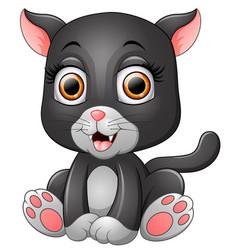 cute black cat cartoon vector image