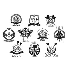 Darts sport award or victory icons set vector
