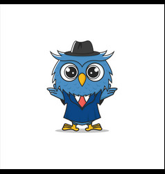 detective or lawyer owl cartoon vector image