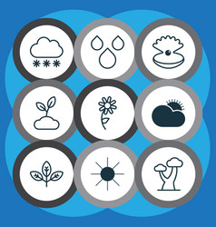 Ecology icons set collection of sunny weather vector